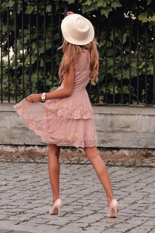 Sukienka w kropki z falbankami i koronką pudrowa Jowita 6