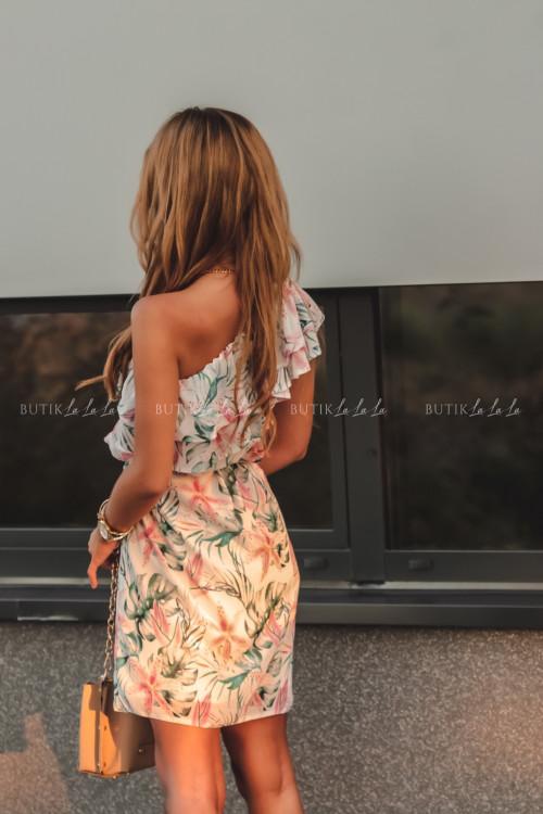 sukienka letnia mini w kwiatowy print z falbanką Simona 2 1