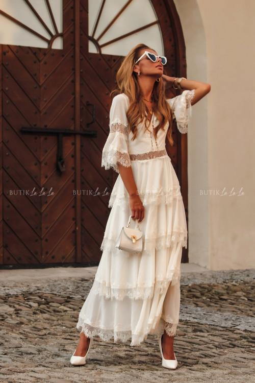 Sukienka maxi w stylu boho z falbankami kremowa Princesska