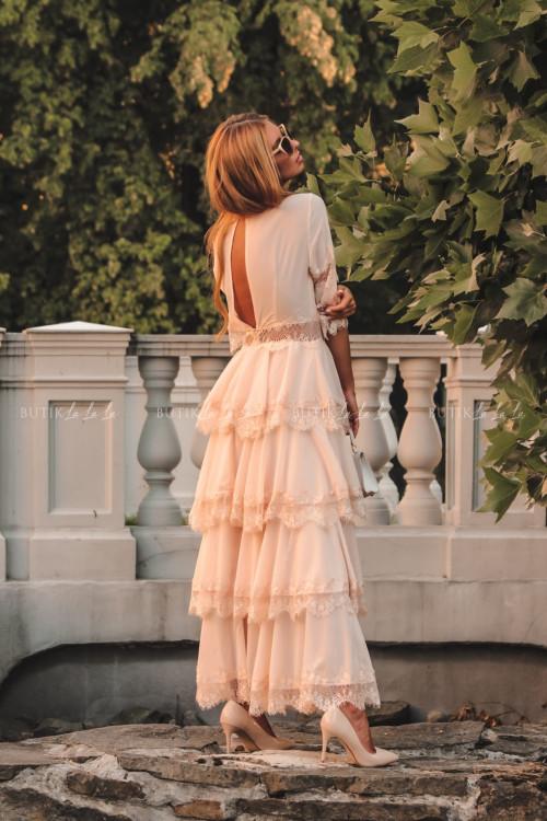 Sukienka maxi w stylu boho z falbankami pudrowa Princesska