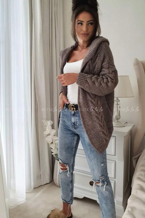 sweter ażurowy z kapturem mokka warkocz