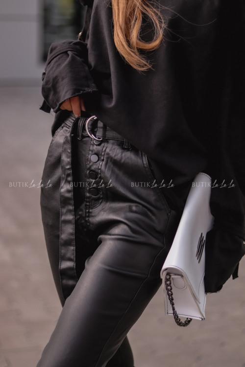 Spodnie woskowane z paskiem czarne Glozy