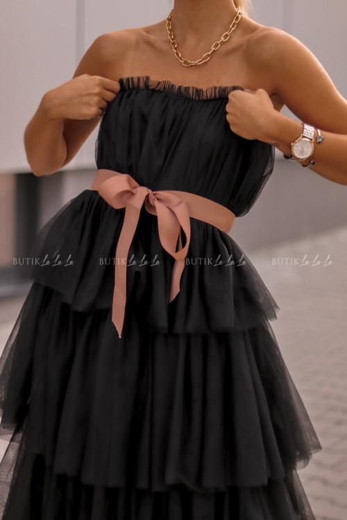 sukienka tiulowa gorsetowa z falbanami maxi czarna Śnieżka