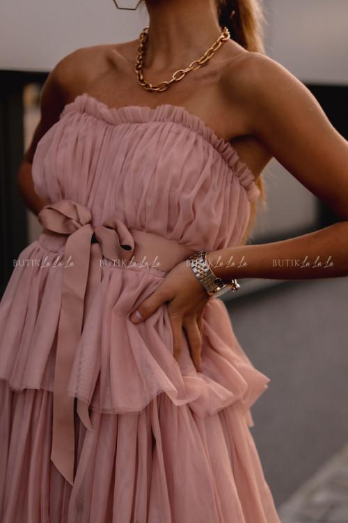 sukienka tiulowa gorsetowa z falbanami maxi pudrowa Śnieżka