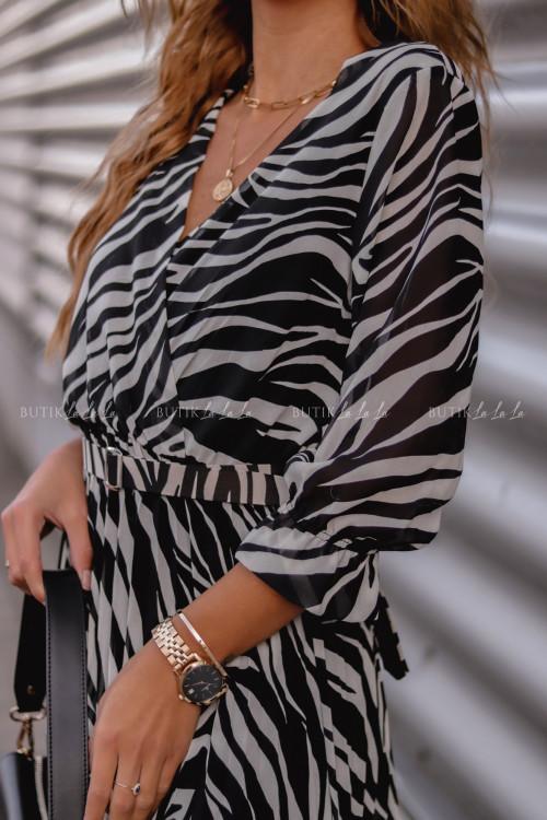 Sukienka maxi zebra z paskiem Salut