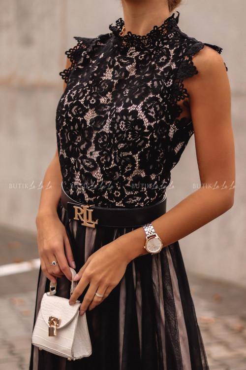 Sukienka z koronkową górą i tiulowym dołem midi czarno-beżowa Tiffi