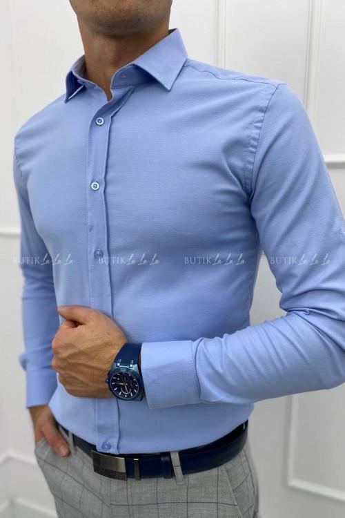 koszula slim niebieska z kołnierzykiem