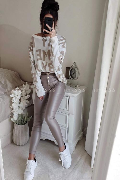 Spodnie woskowane z przeszyciami i guzikami mokka Waist