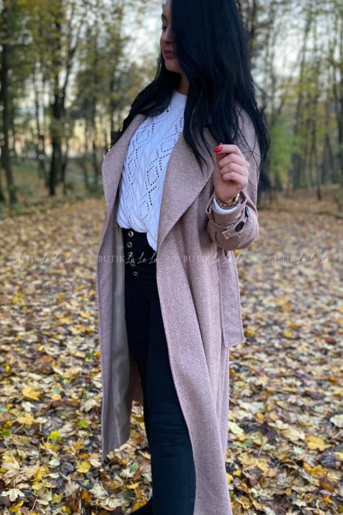 płaszcz wełniany z paskiem beżowy Lilo