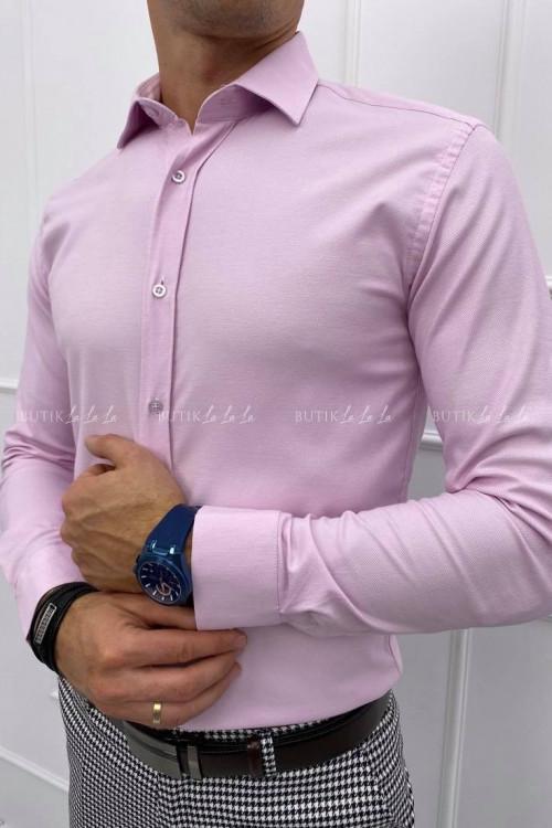 koszula slim różowa z kołnierzykiem