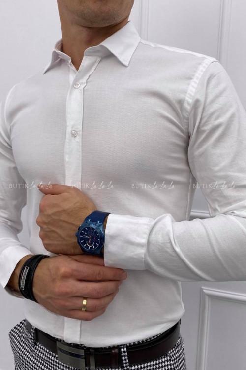 koszula slim biała z kołnierzykiem