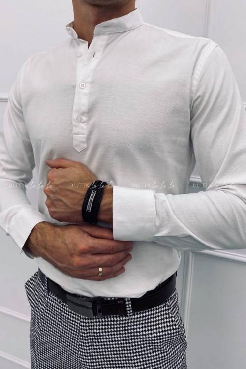 koszula męska biała ze stójką na cztery guziki