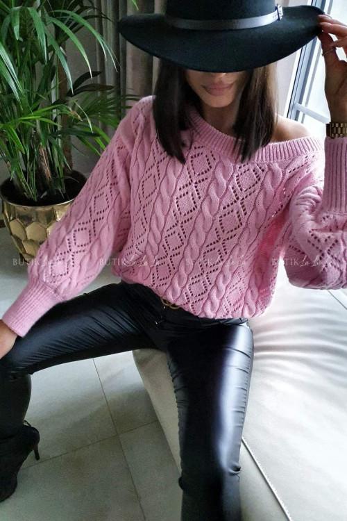 sweter ażurowy różowy Salines