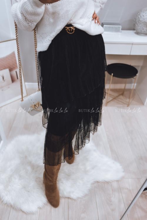 Spódnica tiulowa z falbanami czarna 2