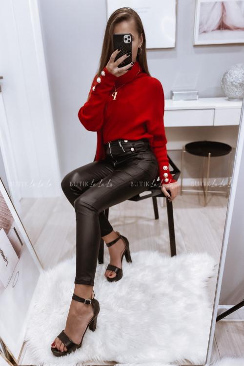 spodnie woskowane z suwakami czarne Tris