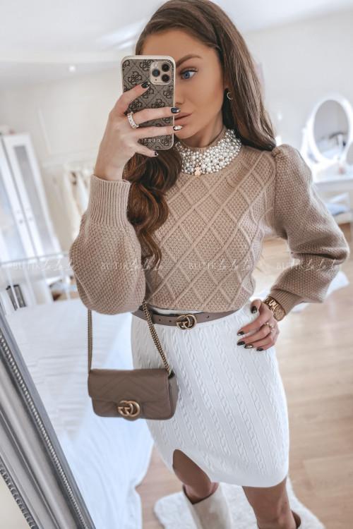 spódniczka sweterkowa biała Bueno
