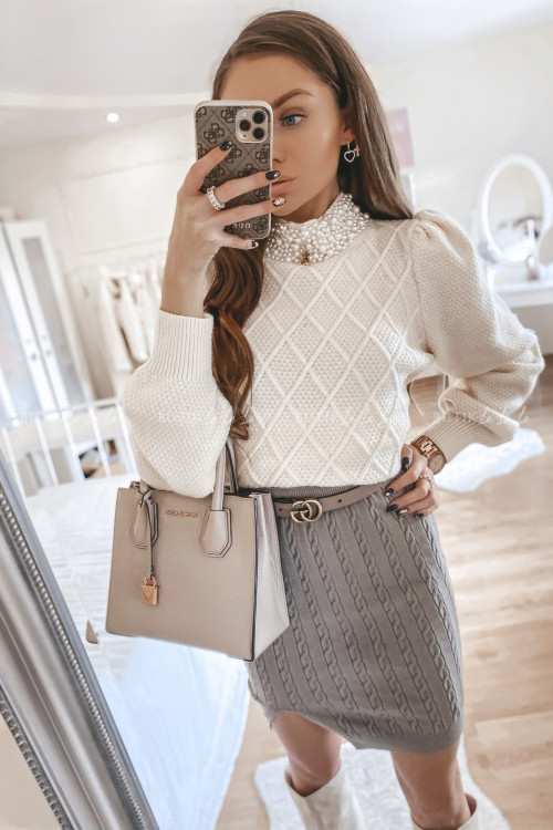 spódniczka sweterkowa beżowa Bueno