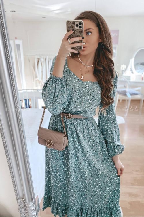 Sukienka midi w kwiatowy print zielona Zara