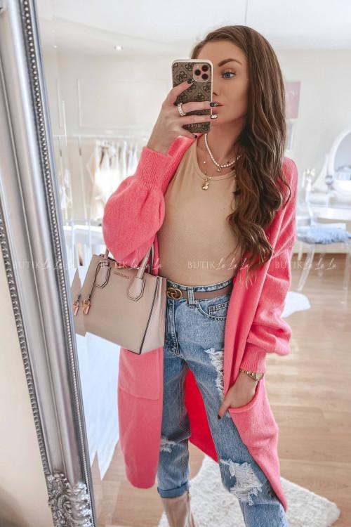 sweter maxi różowy Kris