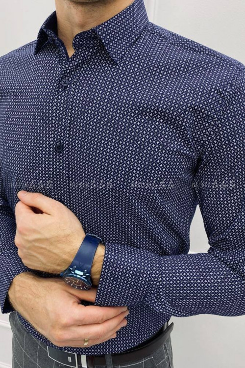 koszula męska kołnierzyk granatowa slim w delikatny wzorek