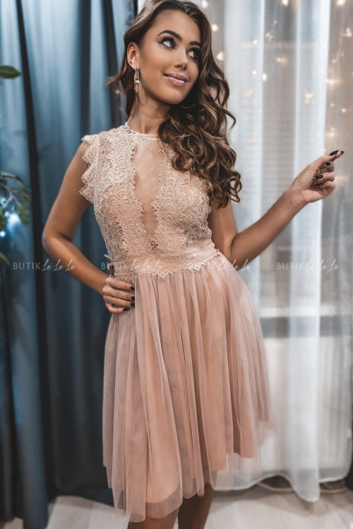 sukienka koronkowo tiulowa pudrowa Margaretka