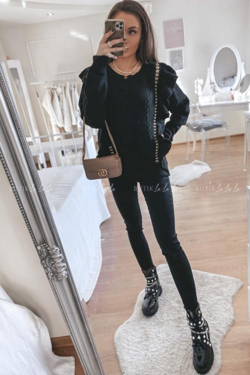 sweterek z łańcuszkiem czarny Martina