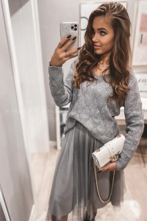 komplet sukienka tiulowa ze swetrem szara Rossi
