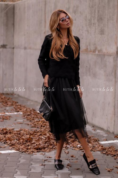 komplet sukienka tiulowa ze swetrem czarny Rossi