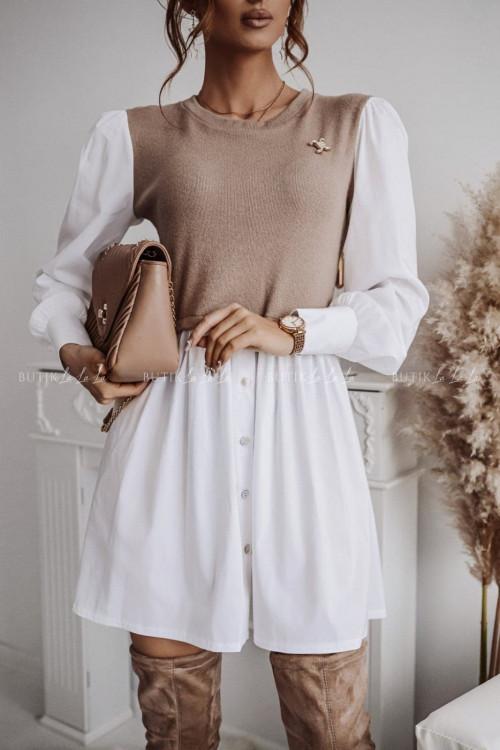 sukienka koszulowa beżowo biała Chanel