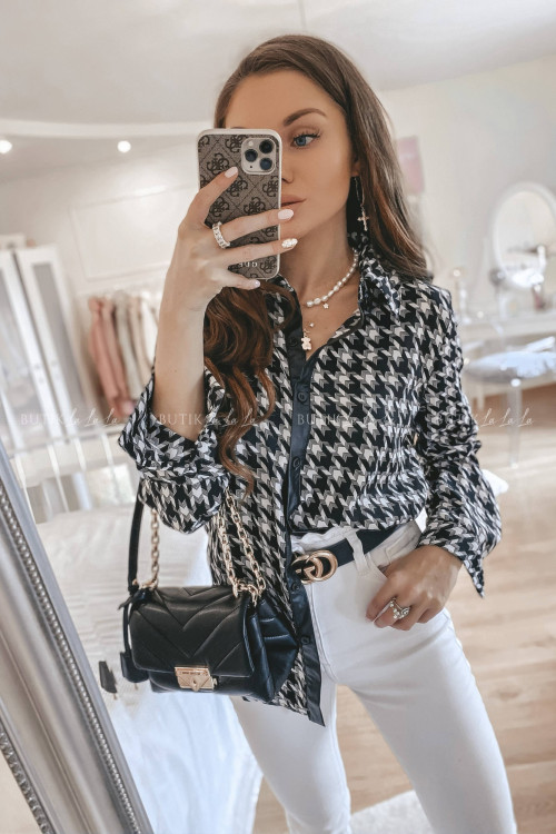 Bluzka koszulowa czarno-biała Felicia