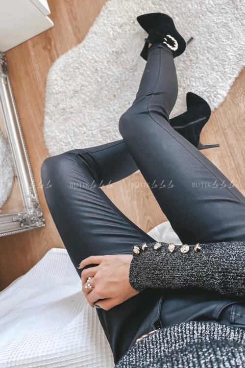 spodnie woskowe czarne Wosteba