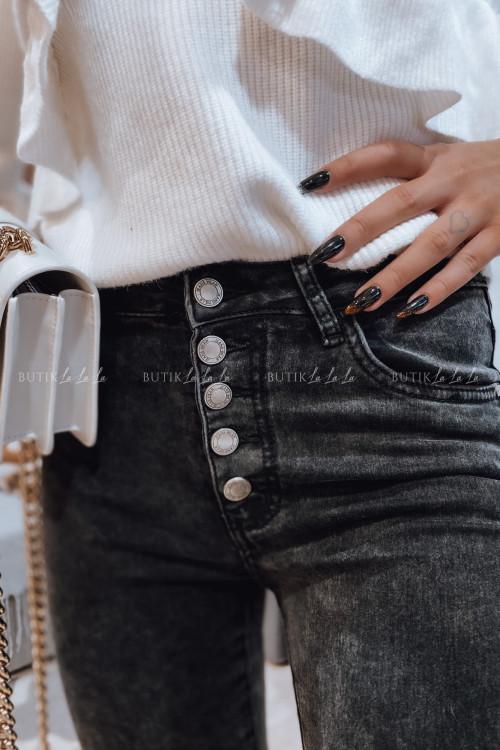 spodnie z guzikami czarno szare Janet