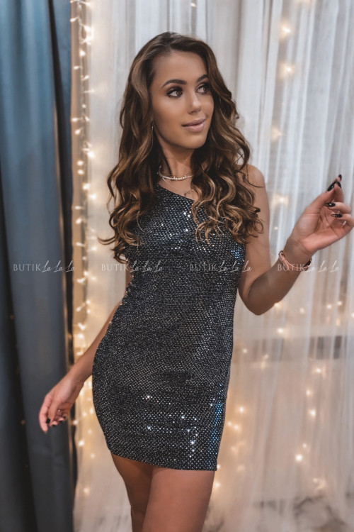 Sukienka Czarno/Srebrna na jedno ramię Miley