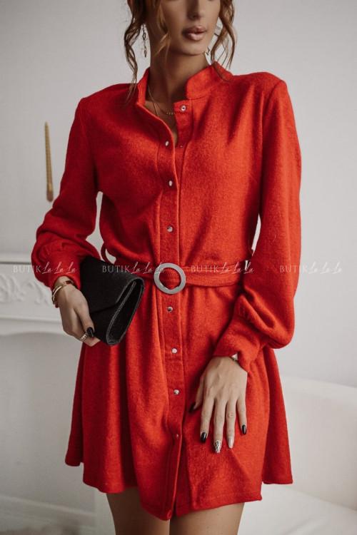 sukienka z paskiem czerwona Kasti