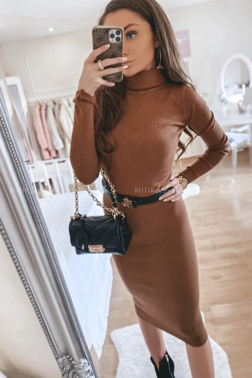 Sukienka sweterkowa brązowa Monley