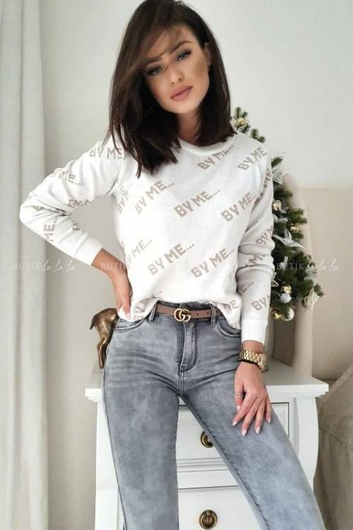 sweter biało-beżowy By Me