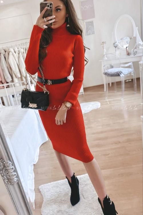 Sukienka sweterkowa czerwona Monley