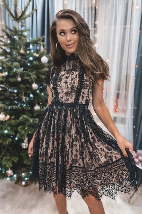 Sukienka midi tiulowa z koronką czarno pudrowa Celina