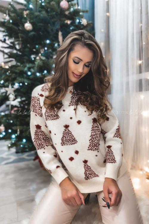 sweterek beżowy z bordowymi choinkami Jilly