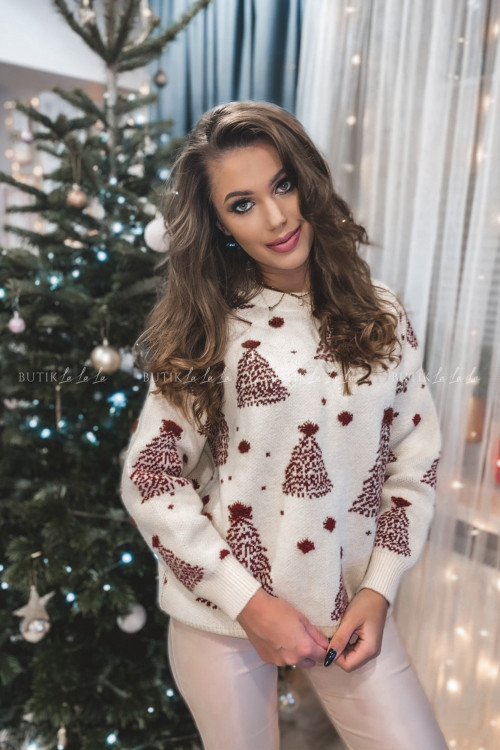 sweterek beżowy z bordowymi choinkami Jilly 1