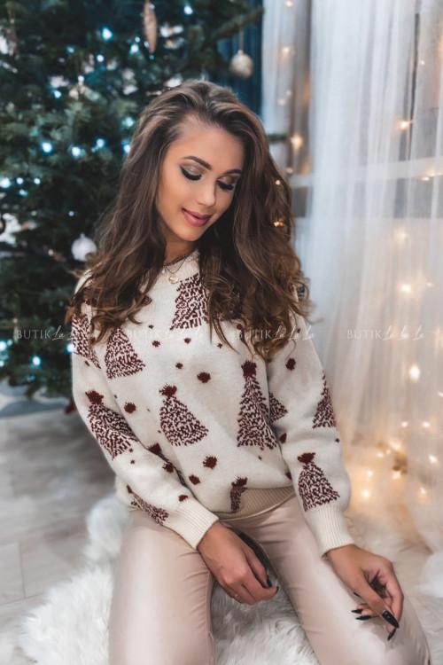 sweterek beżowy z bordowymi choinkami Jilly 2