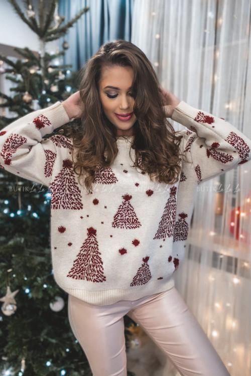 sweterek beżowy z bordowymi choinkami Jilly 4