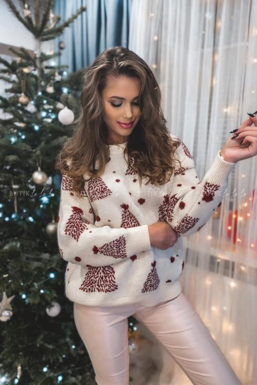sweterek beżowy z bordowymi choinkami Jilly 5