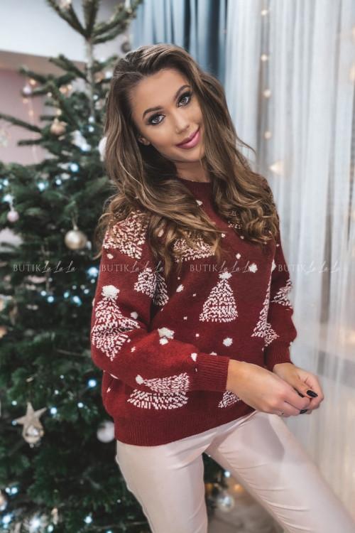 sweterek bordowy z beżowymi choinkami Jilly