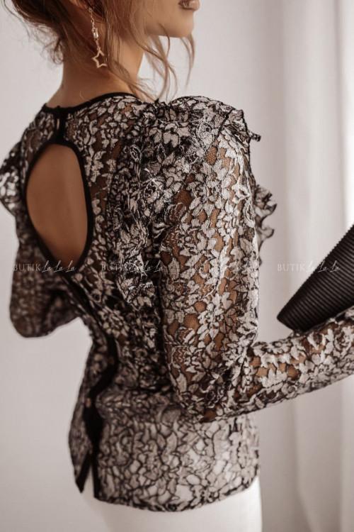 bluzka koronkowa czarno beżowa Mistoria