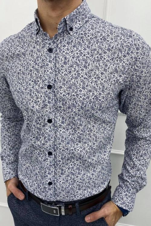 koszula biała slim w granatowy wzorek