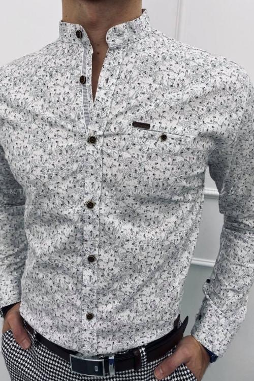 koszula stójka biała szary wzór
