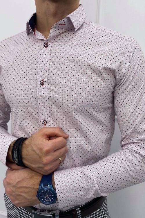 koszula slim biała w bordowy wzorek