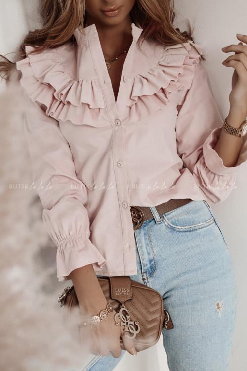 koszula z falbaną nude pink