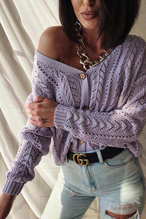 sweter ażurowy liliowy Stinx